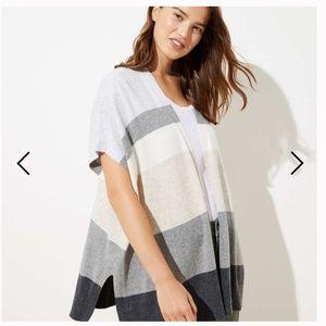 LOFT | Grey Colourblock Open Poncho Sweater